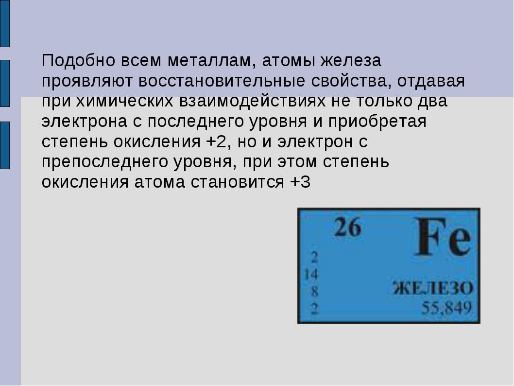 Подобно всем металлам, атомы железа проявляют восстановительные свойства, отд...