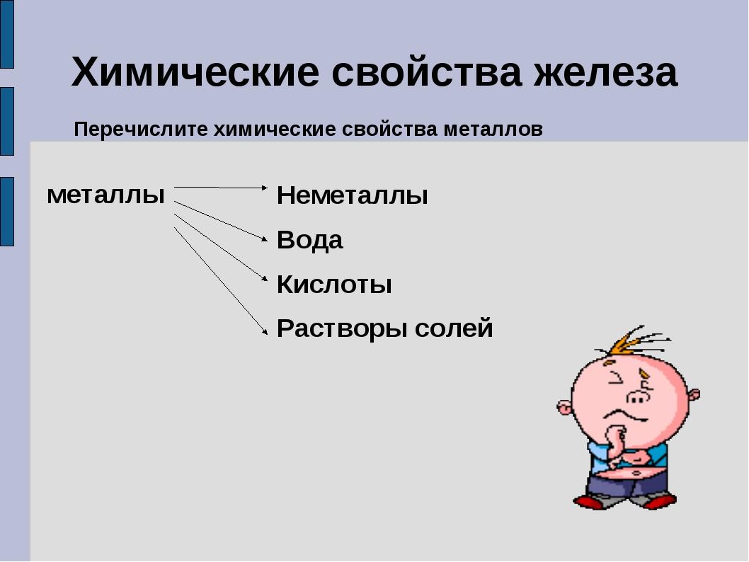 Химические свойства железа Перечислите химические свойства металлов металлы Н...