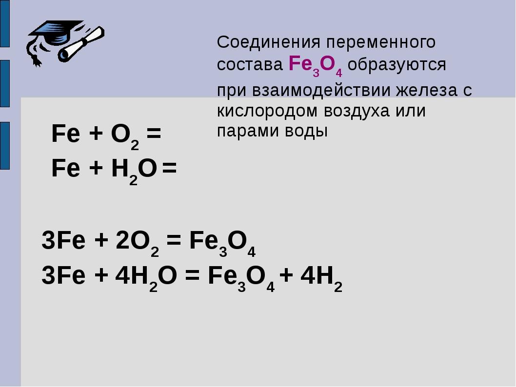 Соединения переменного состава Fe3O4 образуются при взаимодействии железа с к...