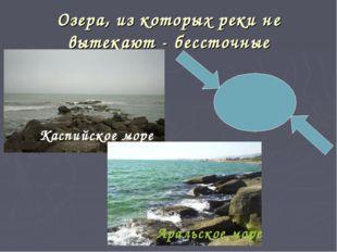 Озера, из которых реки не вытекают - бессточные Каспийское море Аральское море
