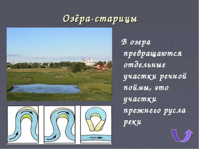 Озёра-старицы В озера превращаются отдельные участки речной поймы, это участк...