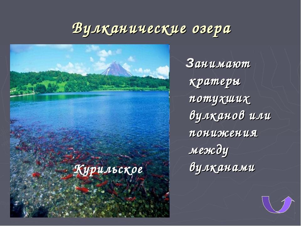 Вулканические озера Занимают кратеры потухших вулканов или понижения между ву...