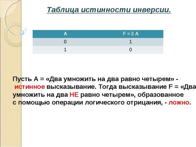 Таблица истинности инверсии. Пусть А = «Два умножить на два равно четырем» -...