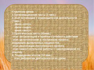 Структура урока 1.Организационная часть (3 мин.) 2.Этап мотивации к коррекцио