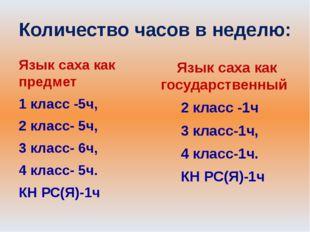 Количество часов в неделю: Язык саха как предмет 1 класс -5ч, 2 класс- 5ч, 3