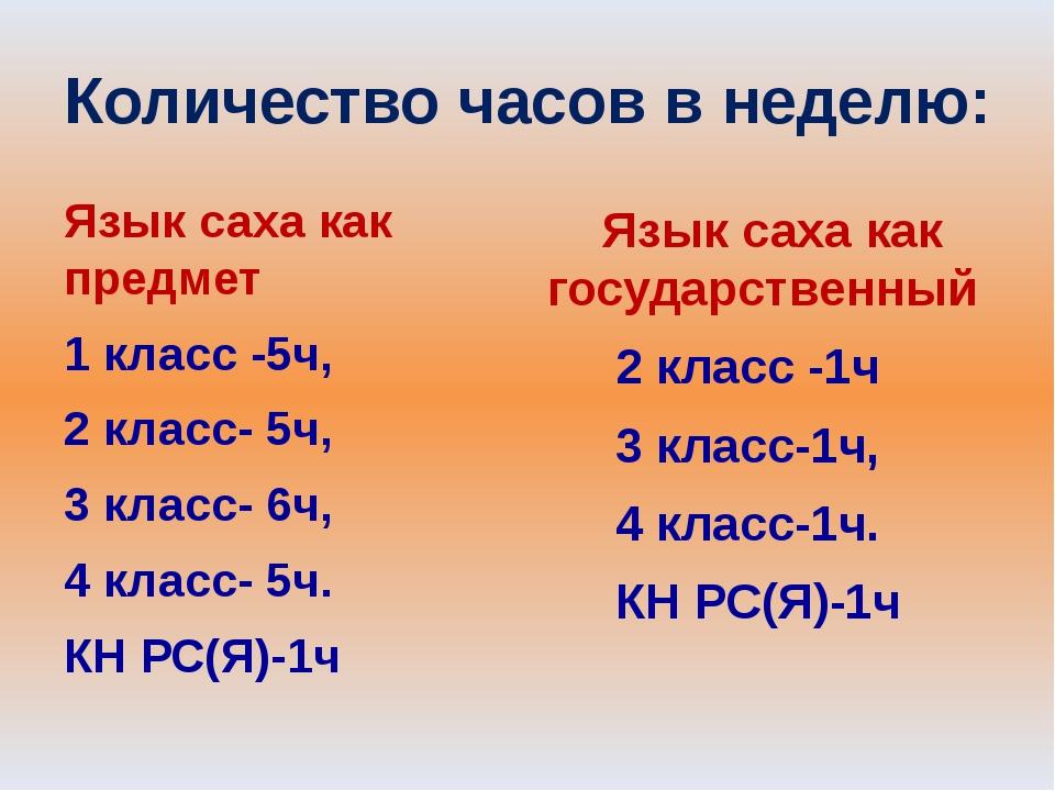 Количество часов в неделю: Язык саха как предмет 1 класс -5ч, 2 класс- 5ч, 3...
