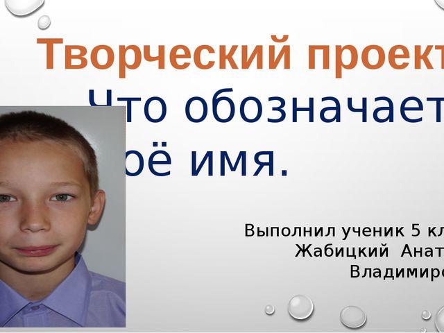 Что обозначает моё имя. Творческий проект Выполнил ученик 5 класса Жабицкий...