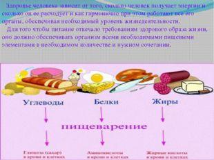Здоровье человека зависит от того, сколько человек получает энергии и скольк