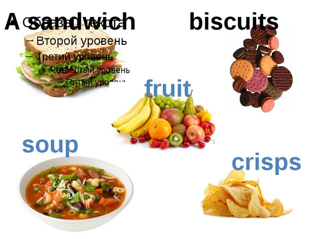 A sandwich biscuits fruit soup crisps