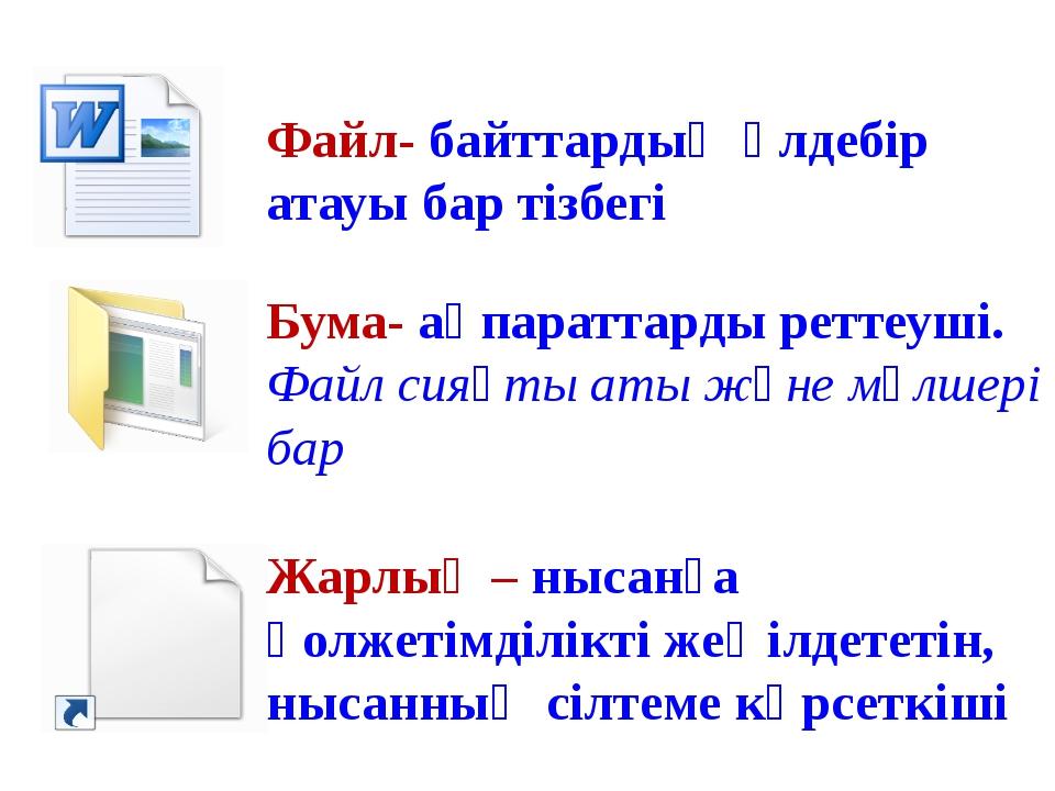Файл- байттардың әлдебір атауы бар тізбегі Бума- ақпараттарды реттеуші. Файл...