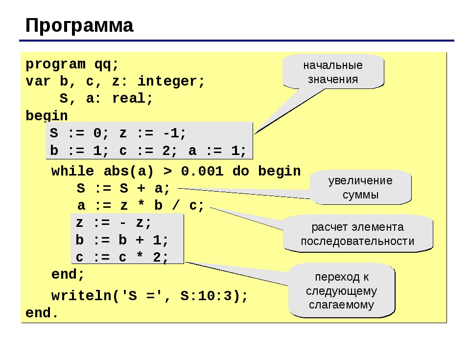 Программа program qq; var b, c, z: integer; S, a: real; begin S := 0; z := -1...