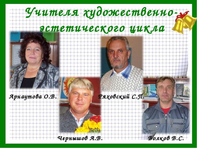 Учителя художественно-эстетического цикла Арнаутова О.В. Чернышов А.В. Ряховс...