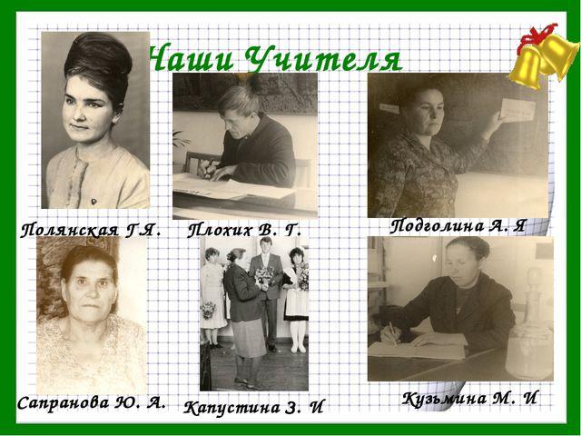 Наши Учителя Полянская Г.Я. Подголина А. Я Плохих В. Г. Сапранова Ю. А. Кузьм...