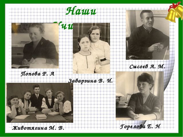 Наши Учителя Попова Р. А Заварзина В. И. Животягина М. В. Сысоев А. М. Горело...