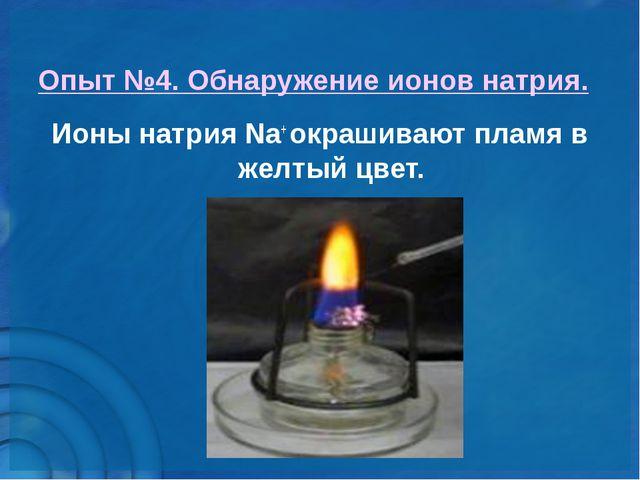 Опыт №4. Обнаружение ионов натрия. Ионы натрия Nа+ окрашивают пламя в желтый...