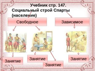 Учебник стр. 147. Социальный строй Спарты (население) Свободное Зависимое Зан