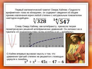 Первый математический трактат Омара Хайяма «Трудности арифметики» пока не о