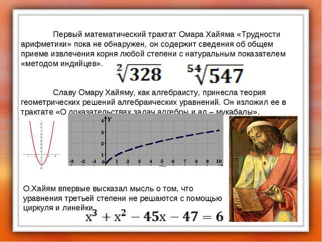 Первый математический трактат Омара Хайяма «Трудности арифметики» пока не о...