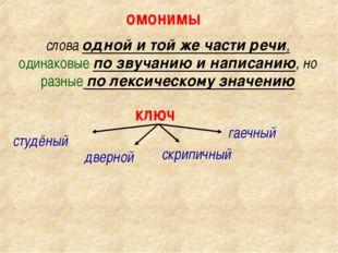 омонимы слова одной и той же части речи, одинаковые по звучанию и написанию,