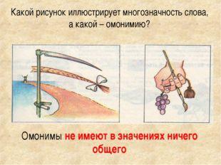 Какой рисунок иллюстрирует многозначность слова, а какой – омонимию? Омонимы