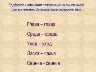 Подберите к омонимам поясняющие их смысл имена прилагательные. Запишите пары