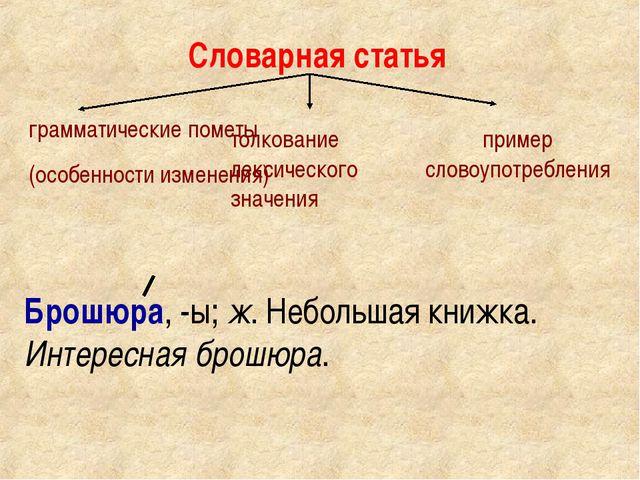 Словарная статья грамматические пометы (особенности изменения) толкование лек...