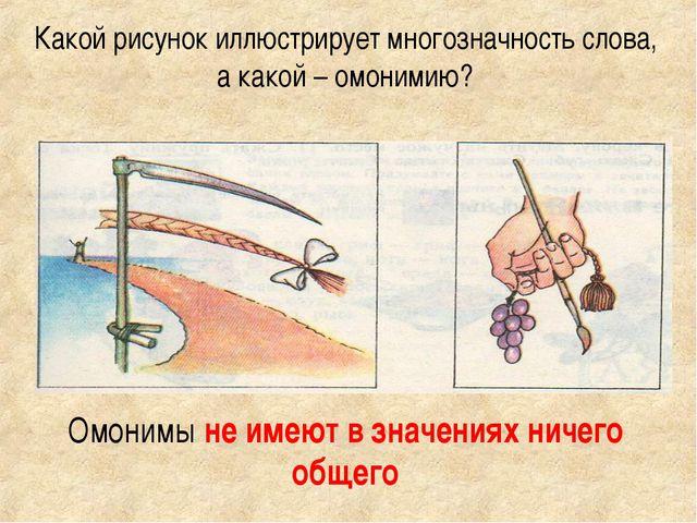 Какой рисунок иллюстрирует многозначность слова, а какой – омонимию? Омонимы...
