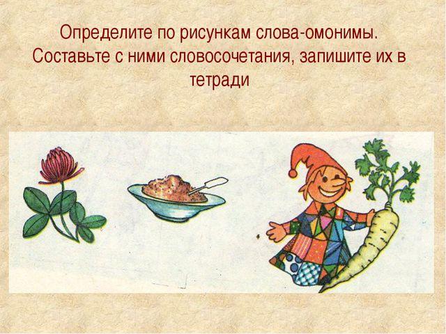 Определите по рисункам слова-омонимы. Составьте с ними словосочетания, запиши...