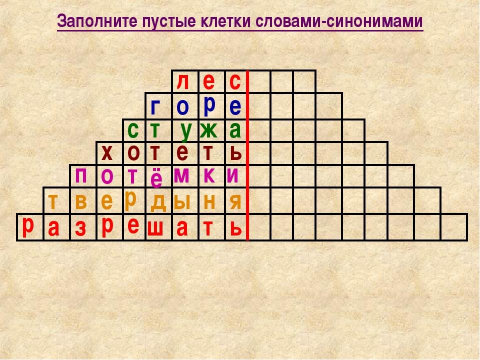 Заполните пустые клетки словами-синонимами л е с г о р е с т у ж а х о т е т...