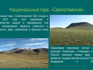 Национальный парк «Сайлюгемский» Национальный парк «Сайлюгемский» был создан