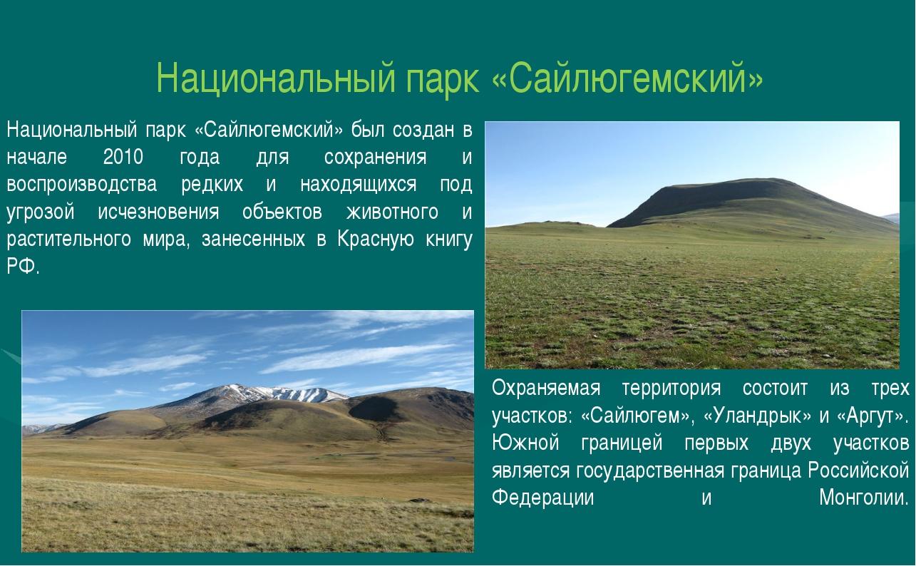 Национальный парк «Сайлюгемский» Национальный парк «Сайлюгемский» был создан...