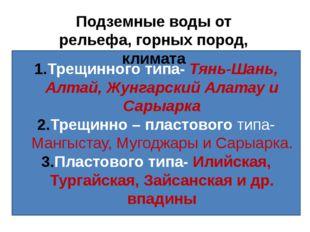 Трещинного типа- Тянь-Шань, Алтай, Жунгарский Алатау и Сарыарка Трещинно – пл