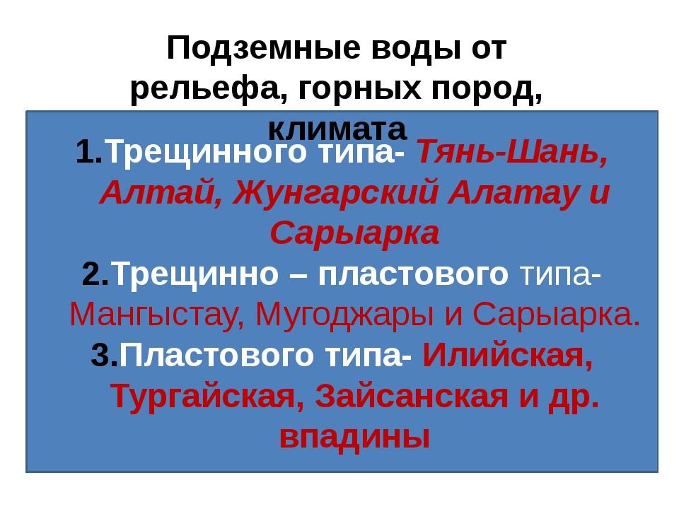 Трещинного типа- Тянь-Шань, Алтай, Жунгарский Алатау и Сарыарка Трещинно – пл...