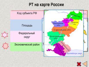 РТ на карте России Код субъекта РФ 16 Площадь 67836 км² 0,04% отSРоссии Феде