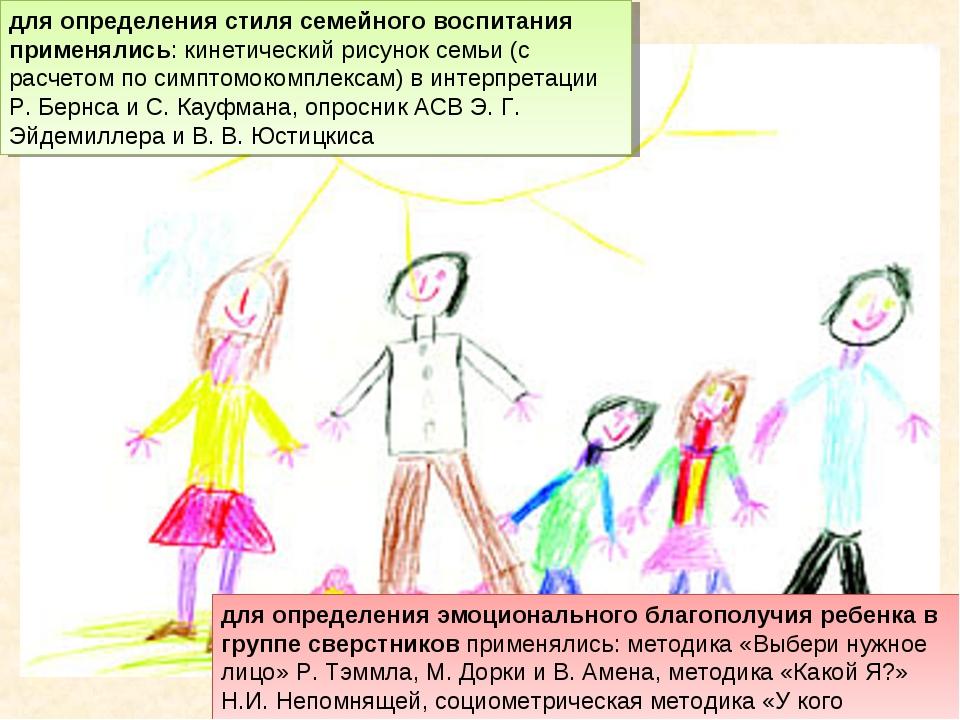 для определения стиля семейного воспитания применялись: кинетический рисунок...