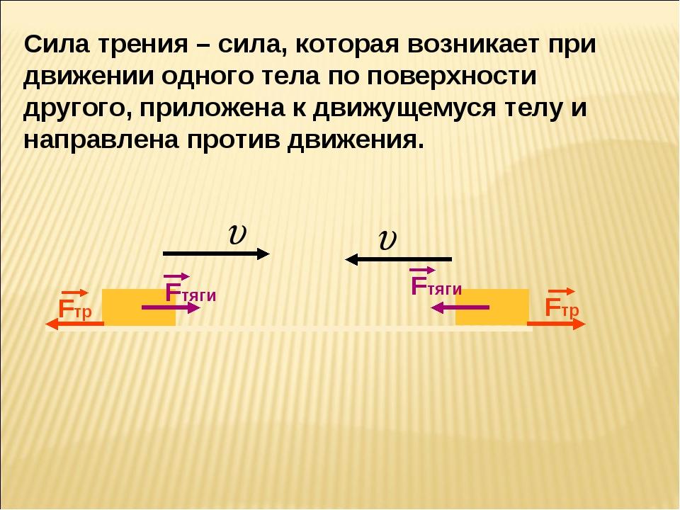 Сила трения – сила, которая возникает при движении одного тела по поверхности...