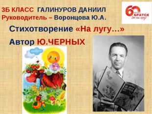 3Б КЛАСС ГАЛИНУРОВ ДАНИИЛ Руководитель – Воронцова Ю.А. Стихотворение «На луг