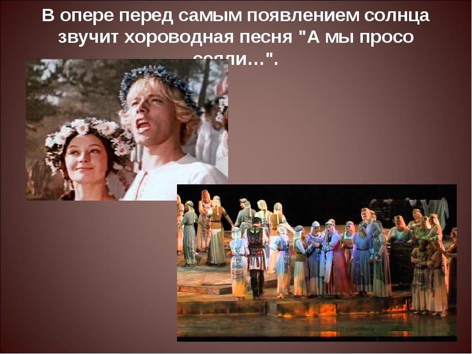 """В опере перед самым появлением солнца звучит хороводная песня """"А мы просо сея..."""