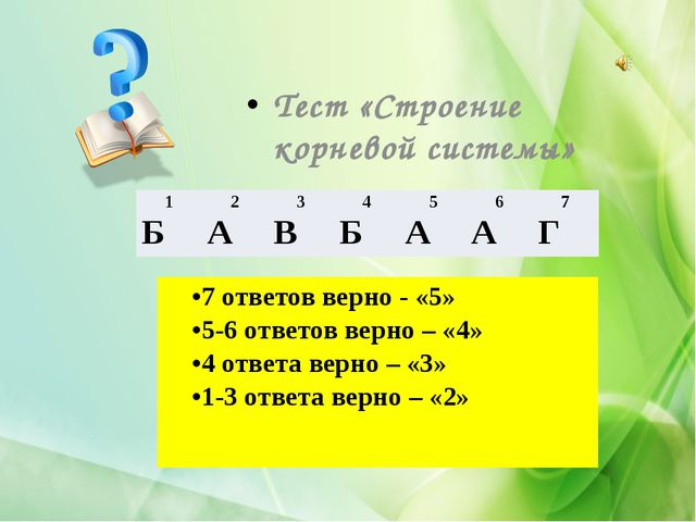 Тест «Строение корневой системы» 7 ответов верно - «5» 5-6 ответов верно – «4...