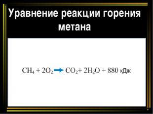 Уравнение реакции горения метана