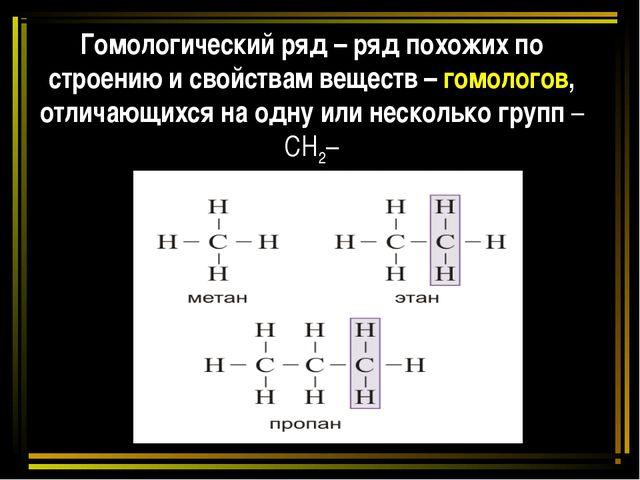 Гомологический ряд – ряд похожих по строению и свойствам веществ – гомологов,...