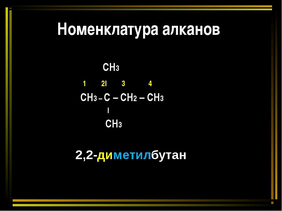 Номенклатура алканов СН3 1 2l 3 4 СН3 – С – СН2 – СН3 l СН3 2,2-диметилбутан