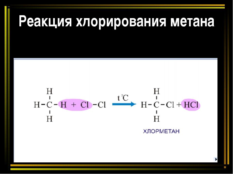 Реакция хлорирования метана