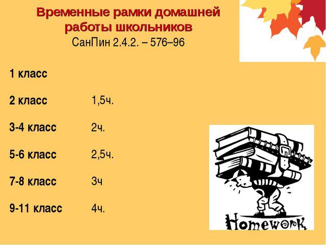 Временные рамки домашней работы школьников СанПин 2.4.2. – 576–96 1 класс 2...