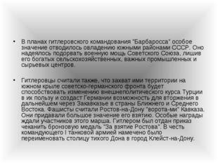 """В планах гитлеровского командования """"Барбаросса"""" особое значение отводилось о"""