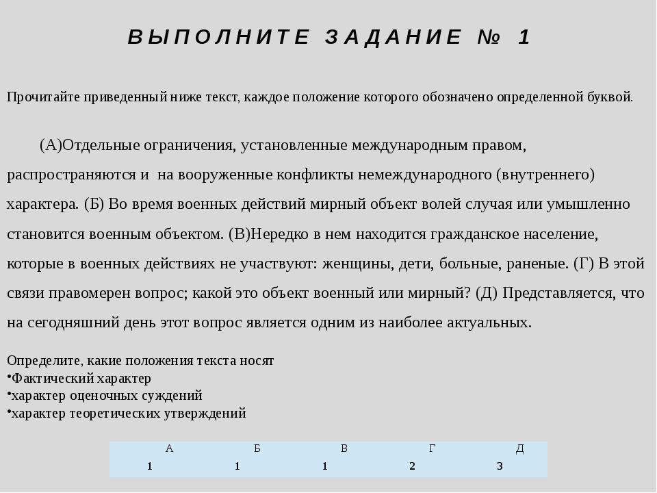 Прочитайте приведенный ниже текст, каждое положение которого обозначено опред...