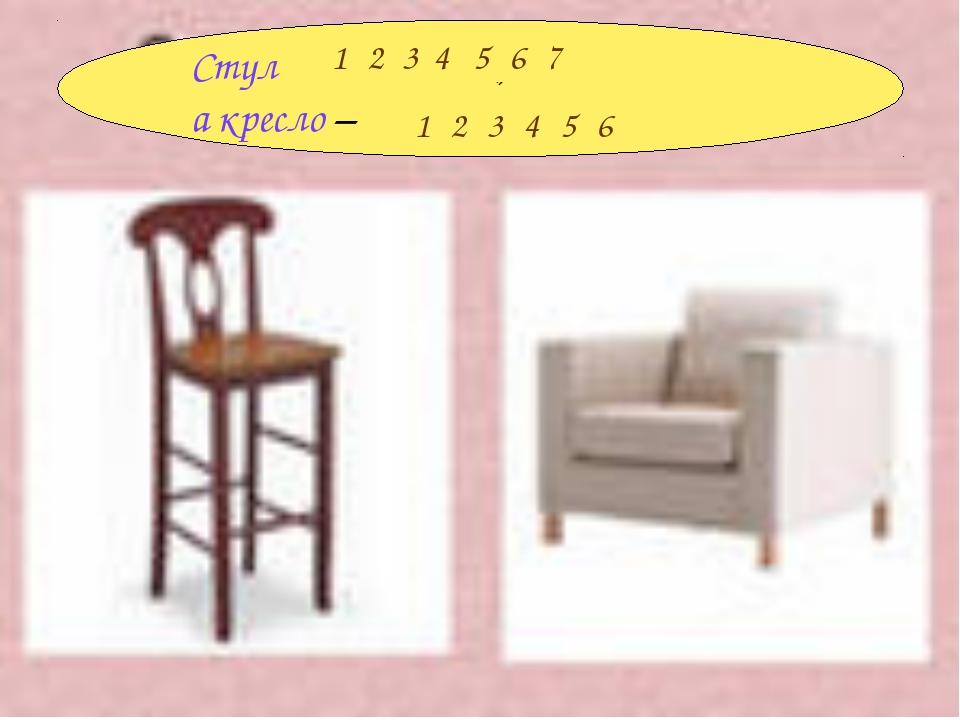 Стул , а кресло – . 1234567 123456