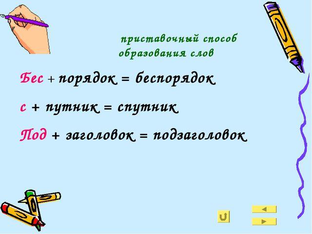 приставочный способ образования слов Бес + порядок = беспорядок с + путник =...