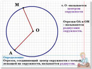 О М т. О –называется центром окружности А Отрезки ОА и ОМ – называются радиус