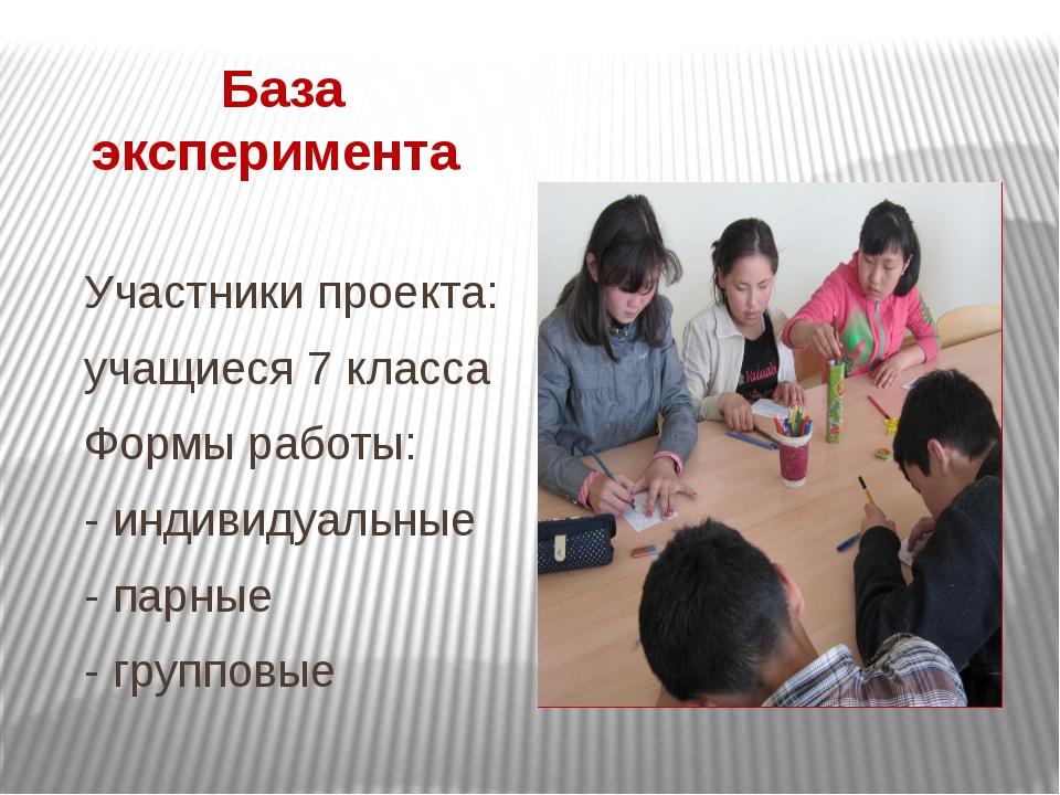База эксперимента Участники проекта: учащиеся 7 класса Формы работы: - индиви...